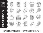 fastfood icon set. street food...