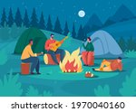 people camping at night....   Shutterstock .eps vector #1970040160