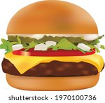 realistic burger vector.... | Shutterstock .eps vector #1970100736
