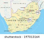 South Africa Political Map with the capitals Pretoria, Bloemfontein and Cape Town, with national borders, most important cities, rivers and lakes. Vector illustration with English labeling and scaling