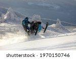 Snowmobile. A Guy Rides A Snow...