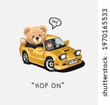hop on slogan with bear doll in ... | Shutterstock .eps vector #1970165533