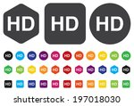hd icon or button | Shutterstock .eps vector #197018030