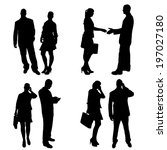 vector silhouette of people on... | Shutterstock .eps vector #197027180