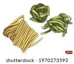 sketch of a set pasta...   Shutterstock .eps vector #1970273593