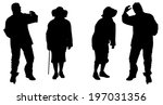 vector silhouette of old people ... | Shutterstock .eps vector #197031356