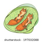 two cute foxes lying on the... | Shutterstock .eps vector #197032088