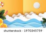 summer season paper art vector... | Shutterstock .eps vector #1970345759