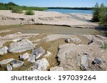 Small photo of alluvion of gravel on the Danuber river - behind the Cunovo dam