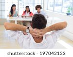 businessman relaxed with hands...   Shutterstock . vector #197042123