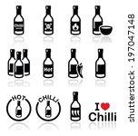 hot chilli sauce bottle icons...   Shutterstock .eps vector #197047148