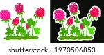 Stylized Pink Clover Flowers....