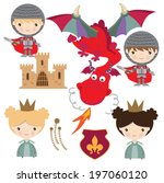 arms,blazon,cartoon,castle,character,coat,colorful,cute,dragon,illustration,knight,lily,medieval,of,people