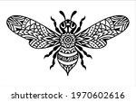 bee mandala. vector silhouette...   Shutterstock .eps vector #1970602616