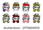 messy bun set designs. mom life ... | Shutterstock .eps vector #1970604053