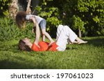 mother and daughter are... | Shutterstock . vector #197061023