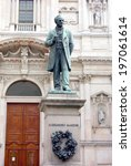 Small photo of MILAN, ITALY - APRIL 12, 2014: Alessandro Manzoni statue in San Fedele square in Milan. Manzoni (1785-1873) was an italian poet and novelist, famous for the novel The Betrothed.