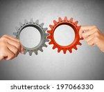 businessman builds a business... | Shutterstock . vector #197066330