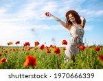 Happy Woman Posing In A Poppy...