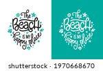 beach is my happy place slogan...   Shutterstock .eps vector #1970668670