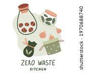 zero waste kitchen. cute eco... | Shutterstock .eps vector #1970688740