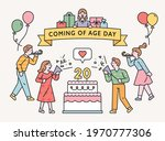 people are celebrating around a ...   Shutterstock .eps vector #1970777306