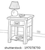 drawing of a wooden nightstand... | Shutterstock .eps vector #197078750