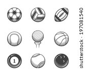 collection of sport icons.... | Shutterstock .eps vector #197081540