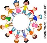 circle of happy children... | Shutterstock .eps vector #197083184