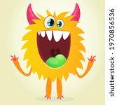 happy cool cartoon fat monster. ...   Shutterstock .eps vector #1970856536