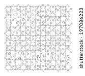 puzzle template 169 pieces | Shutterstock . vector #197086223