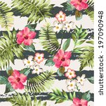 Seamless Tropical Flowers With...