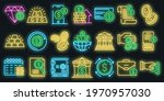 bank metals icons set. outline...