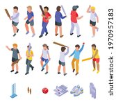 kids playing cricket icons set. ... | Shutterstock .eps vector #1970957183