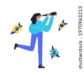woman with a telescope.... | Shutterstock .eps vector #1970963213