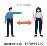man and woman in masks keeping... | Shutterstock .eps vector #1970998340