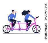 friends riding a tandem bicycle.... | Shutterstock .eps vector #1970998346