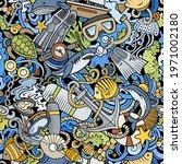 cartoon doodles diving seamless ... | Shutterstock .eps vector #1971002180