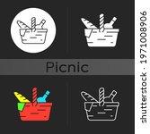 picnic basket dark theme icon.... | Shutterstock .eps vector #1971008906