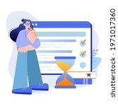 online testing concept. student ... | Shutterstock .eps vector #1971017360