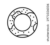 donut icon line style vector...