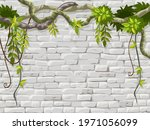 wall  branches liana  ivy.... | Shutterstock .eps vector #1971056099