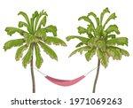 pink hammock hanging between... | Shutterstock .eps vector #1971069263