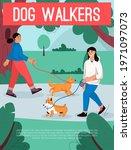 vector poster of dog walkers...   Shutterstock .eps vector #1971097073
