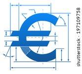 euro symbol with dimension...   Shutterstock . vector #197109758