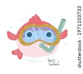 funny fish with swimming mask.... | Shutterstock .eps vector #1971103733