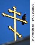A Crow Sits On A Golden Cross