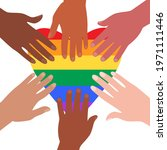 people at the pride parade hold ... | Shutterstock .eps vector #1971111446