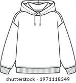 hoodie flat sketch for kids.... | Shutterstock .eps vector #1971118349