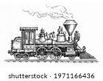 retro steam locomotive... | Shutterstock . vector #1971166436